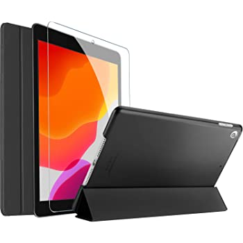 ProCase iPad 7th Generation Case iPad 10.2 Case 2019 with Tempered Glass Screen Protector, Slim Stand Hard Shell Protective Smart Cover for 7th Gen iPad 10.2 Inch 2019 (A2197 A2198 A2200) -Black