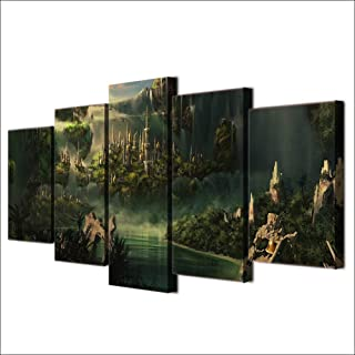 JFSJDF Hd Print Canvas Modular Pictures Wall Art 5 Panel Movie Lord of The Rings Castle Painting for Living Room Decor Poster