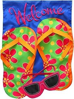"Briarwood Lane Flip Flops Applique Summer House Flag Welcome Sunglasses 28"" x 40"""