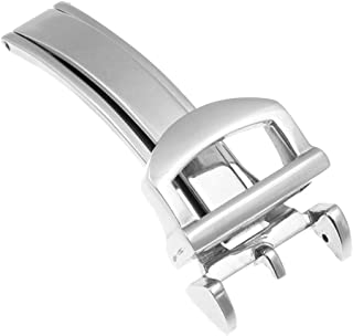 StrapsCo 16mm Polished Silver Stainless Steel Deployant Deployment Clasp Watch Band Strap Buckle for IWC - 16mm - Polished Silver