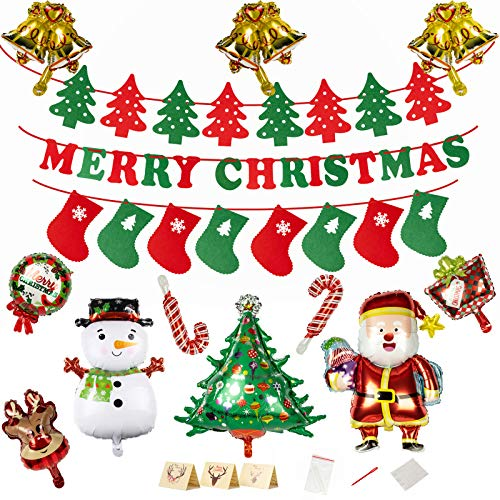 Ltrototea Merry Christmas Party Decoration Supplies,Santa Claus,Candy Cane,Elk,Christmas Tree Christmas Aluminum Film Balloons Felt Banner Decorations Set Indoor Outdoor Front Door New Year Ornaments
