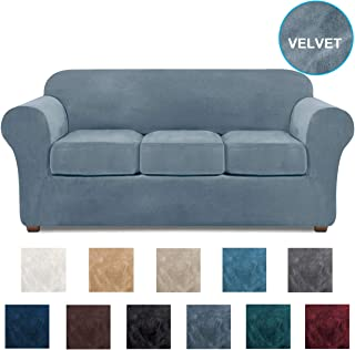 NORTHERN BROTHERS Couch Covers for 3 Cushion Couch Velvet Sofa Cover 4 Piece Couch slipcover (Stone Blue)