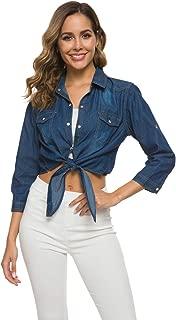 Women's Roll Up Sleeves Tie Front Crop Shirt