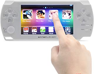 CZT 4.3 inch Touch Screen Handheld Video Game Console 8GB Build in 1200 Games for ps1/arcad/neogeo/cps/flash/gba/fc/gbc/smd/sfc MP3/4 DV/DC Rechargeable Lithium Battery (White)