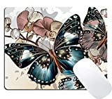 Wknoon Butterfly Orchid Tropical Flowers Gaming Mouse Pad Custom, Vintage Colorful Butterflies Floral Print Art Mouse Pads