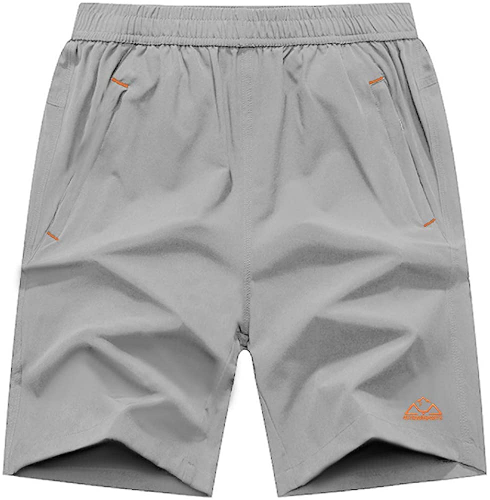 TBMPOY Men's Running Shorts Quick Dry Gym Outdoor Sports Zipper Pockets
