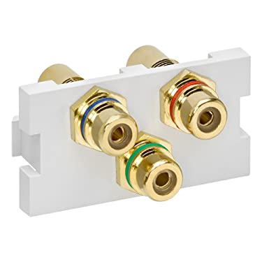 Leviton 41292-3DW Multimedia Outlet System 3-Port RCA Module (red, green, blue) Feedthrough, White, 1