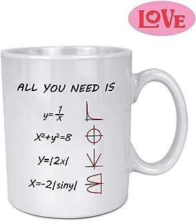 Funny Math Gift Mug, 15OZ Coffee Mug Tea Cup Special Math Design Love Function Ceramic White Mug Gift Present for Lover, Birthday & Teacher-ALL YOU NEED IS LOVE