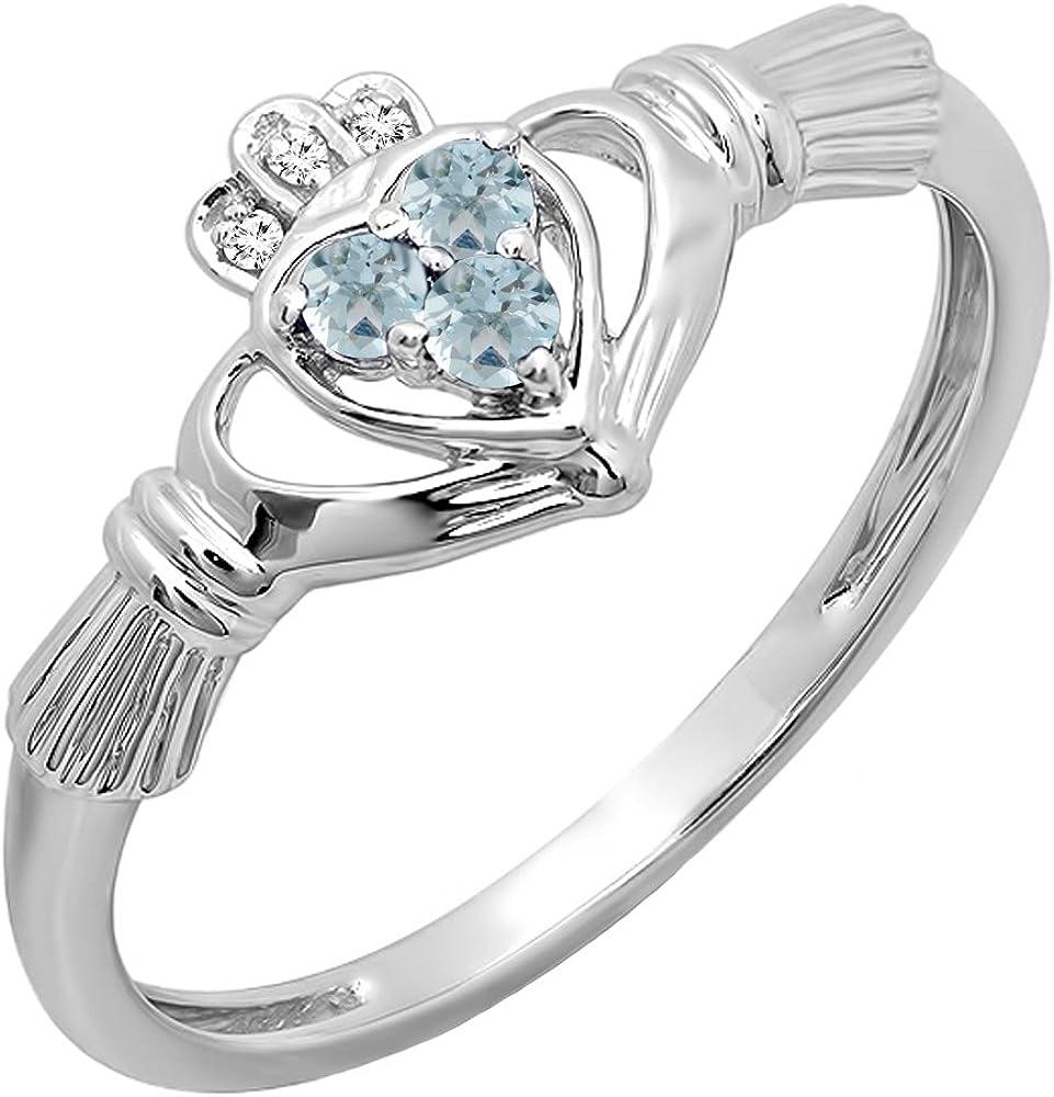 Dazzlingrock Collection 10K Gold Diamond and Aquamarine Bridal Promise Irish Love & Friendship Heart Shape Ring