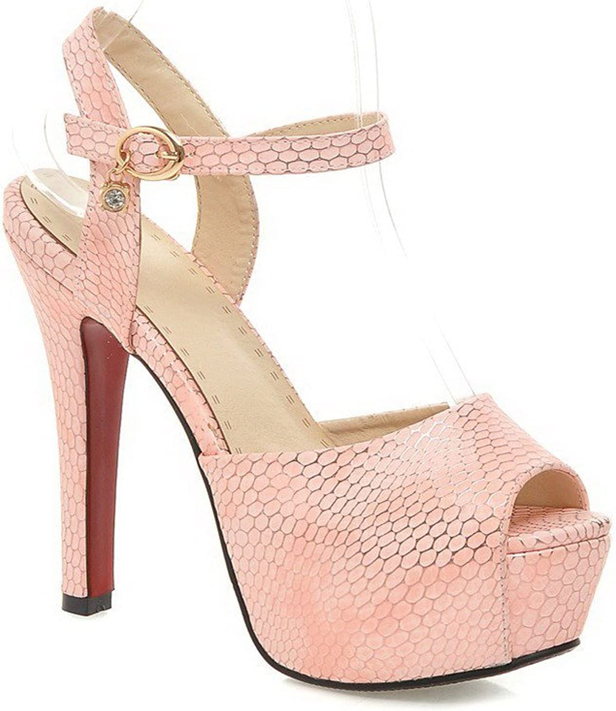 AmoonyFashion Women's Peep Toe High-Heels Soft Material Checkered Buckle Sandals