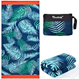 "Touchat Beach Towel Oversized,Super Absorbent Sand Free Thick Microfiber Beach Towel ,Cute Tropical Palm Leaf Beach Towels 30""x60"" for Kids,Men,Women,Girls,Boys"