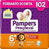 Pampers Progressi Extralarge, 102 Pannolini, Taglia 6+ (16+ Kg)