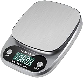 Digital Kitchen Scale, Pekyok FT04 Stainless Steel Household 10kg Digital Electronic Kitchen Weight Scale with Tare & Auto Off Function food Measuring Tools Batteries Included - Silver