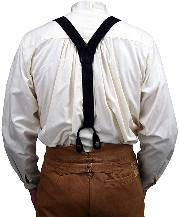 Edwardian Men's Fashion & Clothing 1900-1910s Historical Emporium Mens Canvas Y-Back Button End Suspenders with Elastic Tail  AT vintagedancer.com