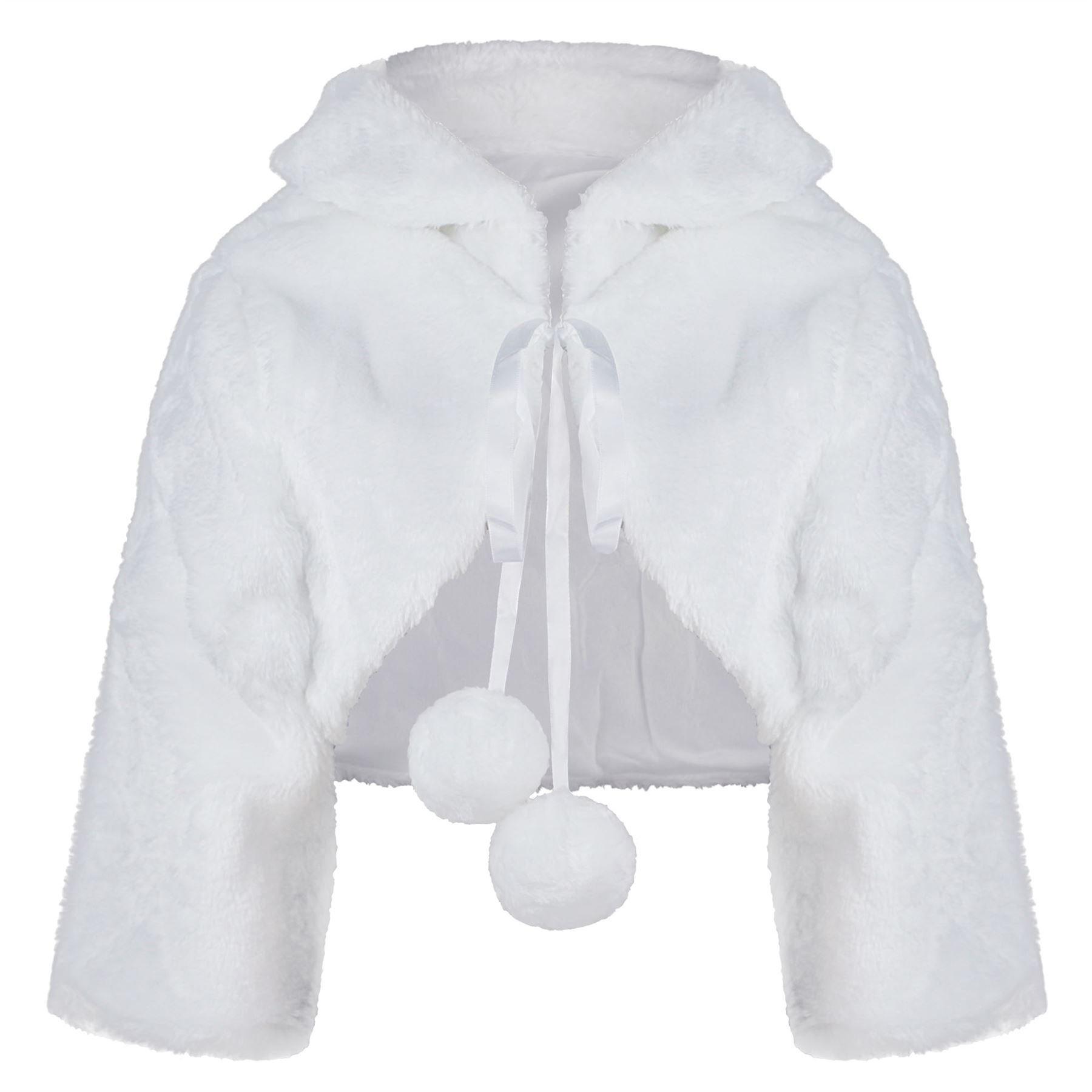 RageIT Girls Faux Fur Jacket ¾ Sleeve Bridesmaid Tippet Bolero Wrap Pompom Shrug