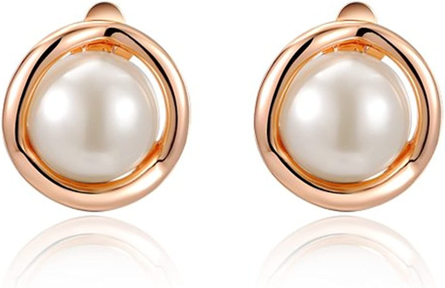 Platinum Or Rose Gold Plated Pearl Clip-On-Earrings