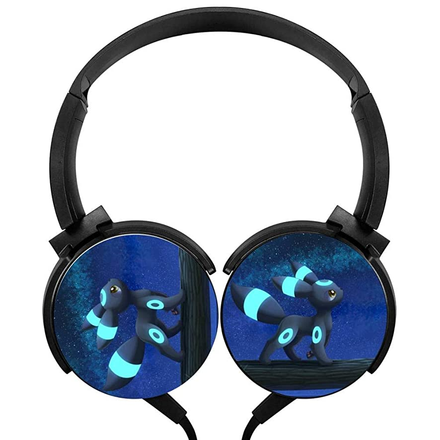 Umbreon Wired Stereo Headphones Customized Foldable Headsets Over Ear for Kids or Adults Black