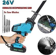26V / 88V sin cable sierra de vaivén, sierra ajustable velocidad eléctrica de alta calidad portátil cortadores de la madera con la batería y 4 piezas de cuchillas,26v,2pcs battery