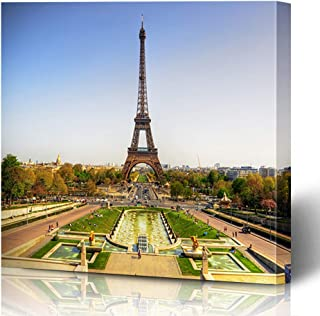 Onete Canvas Prints Wall Art 16x16 Beautiful View Eiffel Tower Famous Paris France Landmarks Blossom Modern Parks Landscape Outdoor Painting Artwork Printing Home Bedroom Living Room Office Dorm