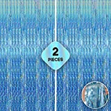 XtraLarge Iridescent Blue Foil Fringe Curtain - 6.4x10 Feet Tiffany Blue Party Decorations | Metallic Baby Blue Fringe Curtain Blue Streamer Backdrop Baby Shower Ocean Theme Birthday Party Decorations