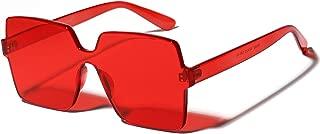 Oversized Square Candy Colors Transparent Lens Rimless Frame Unisex Sunglasses…