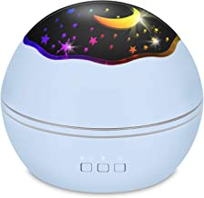 Star Projector Sky Night Lamp, MOKOQI Starry Sky/Ocean World 2-in-1 Lighting Night Lights, Rotating Projection 8 Colors Changing Lamps for Bedrooms Nursery Baby Gifts (Blue)