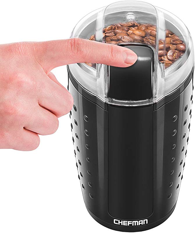 Chefman Electric One Touch Coffee Grinder For Fresh Coffee Grounds Durable Stainless Steel Blades 100 Gram 3 5 Oz Bean Capacity For Up To 12 Cups Of Coffee Powerful 150 Watt Black