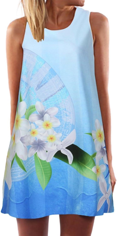 Women Floral Mini Dresses,Lady Boho Sleeveless ONeck Shirt Dress Beach Sun Dress Evening Cocktail Party Dress Summer Dress