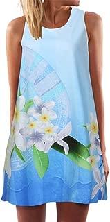 KYLEON Women Dresses Vintage Boho Printed Dress Swing Beach O Neck Short Mini Dress Summer Tank T Shirt Casual Sundress
