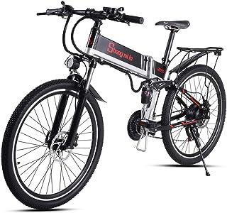 Shengmilo折りたたみ電動自転車 26インチ強力なモーター26*4.0マウンテンバイクシマノ21 変速み 油圧ディスクブレーキ フルサスペンション、5レベルペダルアシスト...