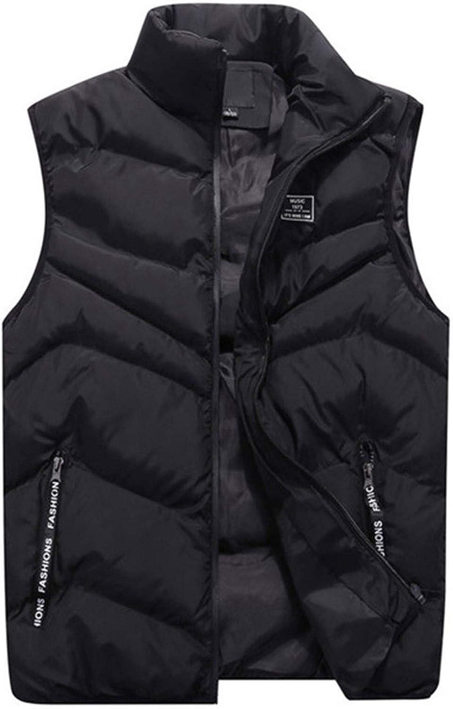 LYLY Vest Women Male Vest Colors Men Autumn Winter Fashionable Casual O-Neck Collar Solid Color Waistcoat Vests Jacket Tops Coat Vest Warm (Color : Black, Size : 4XL)