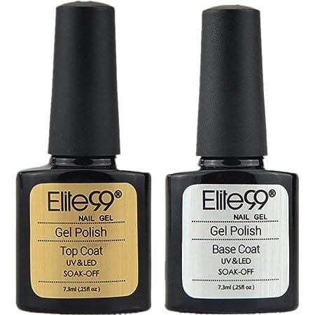 Elite99 Base e Top Coat Semipermanente per Unghie, Smalto Semipermanente in Gel UV LED per Unghie