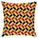Elsaone Square Belgium Flag Weave Throw Pillow Case Funda de cojín Decorativo Funda de Almohada Funda de cojín para sofá Cama Silla Asiento automático 18 x 18 Pulgadas / 45 x 45 cm