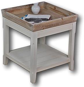 elbmöbel Couchtisch weiß und das Holz-Tablett in braun, buche, 50 x 50 x 55 cm
