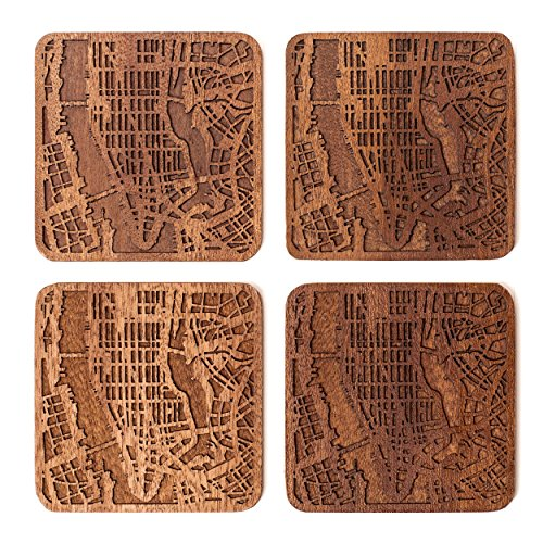 Manhattan, NY Map Coaster by O3 Design Studio, Set Of 4, Sapele Wooden Coaster With City Map, Handmade