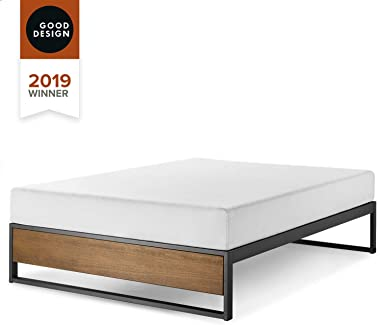 Zinus Suzanne Queen Bed Base Frame 35cm Ironline Industrial - Good Design Award Winner Metal Frame and Pine Wood Solid Wooden