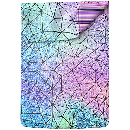 Lex Altern Laptop Sleeve Case for MacBook Air 13 Mac Pro 16 15 Retina HP Dell ASUS Acer Lenovo 11 12 14 17 inch 2020 Iridescent Geometric Holographic Rainbow Cute Design Women Leather Cover Carrying