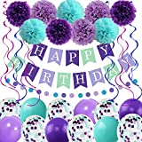 Mermaid Birthday Decorations for Girls Women, 29pcs Birthday Party Supplies Including Pom Poms Flowers Happy Birthday Banner Dots Garland Hanging Swirls and Balloons Purple Teal Confetti