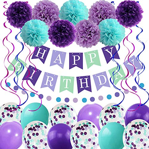 Mermaid Birthday Balloons Decorations Girls Women Birthday Party Supplies Including Pom Poms Flowers Happy Birthday Banner Dots Garland Hanging Swirls and Balloons Purple Teal Confetti