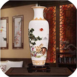Chinese Style Classical Porcelain Vase Home Decoration Jingdezhen Handmade High White Clay Ceramic Vases for Flowers,2