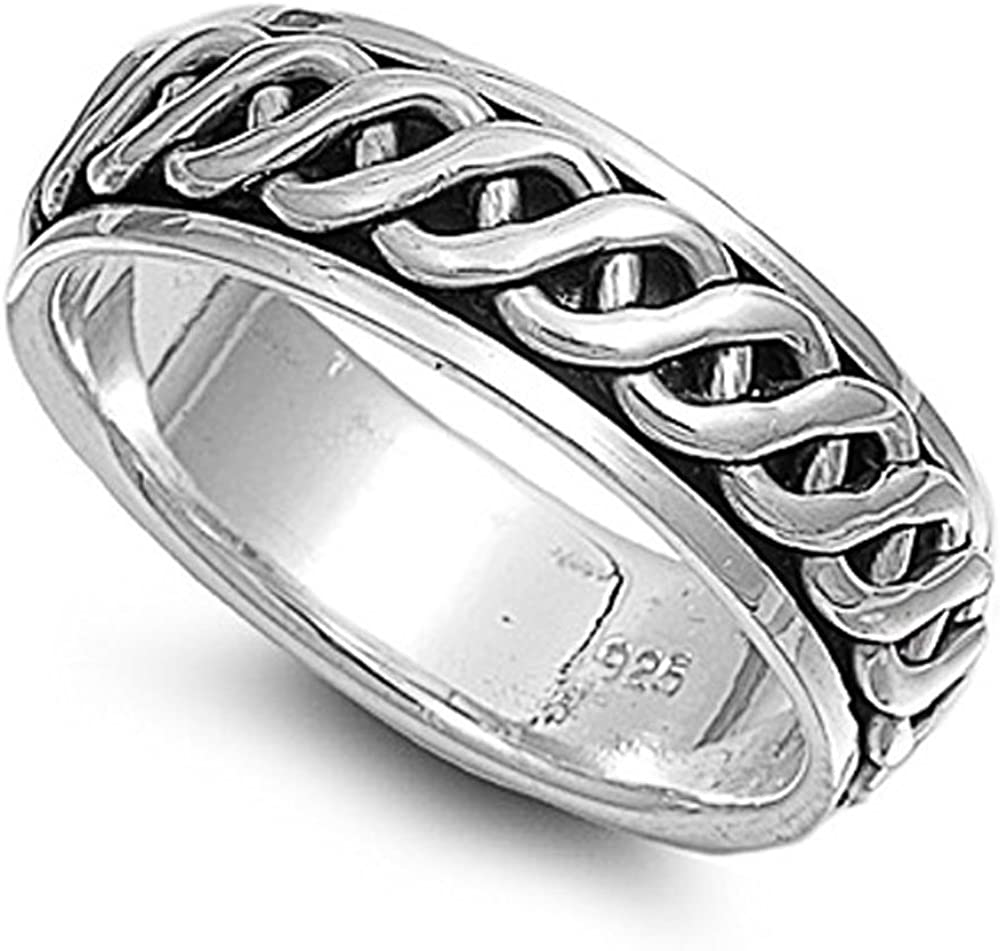 Rhodium We OFFer at cheap prices Cash special price Plated Sterling Silver Engagement Wedding Spinner Ring