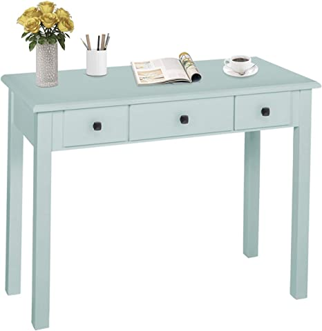 Amazon Com Home Office Small Writing Desk With Drawers Bedroom Study Table For Adults Student Vanity Makeup Dressing Table Save Space Gifts Green Light Green Kitchen Dining