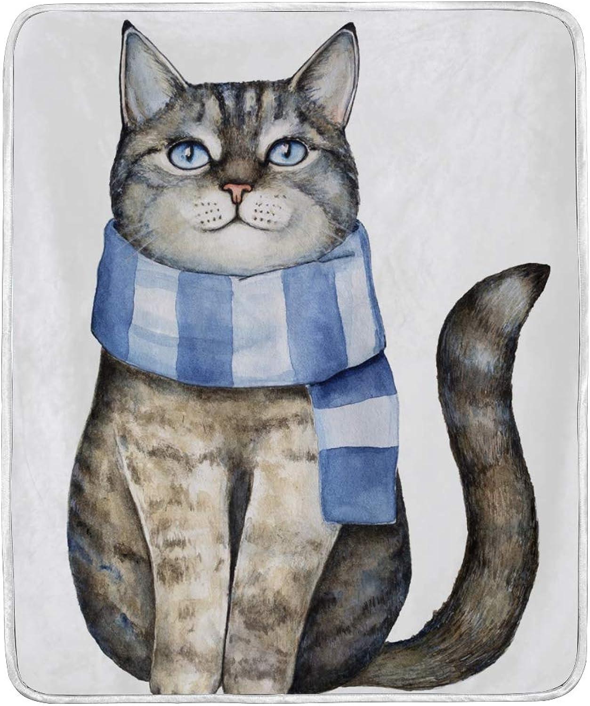 Vantaso Blankets Winter Cat Wearing Scarf Throws Soft Kids Girls Boys 50x60 inch