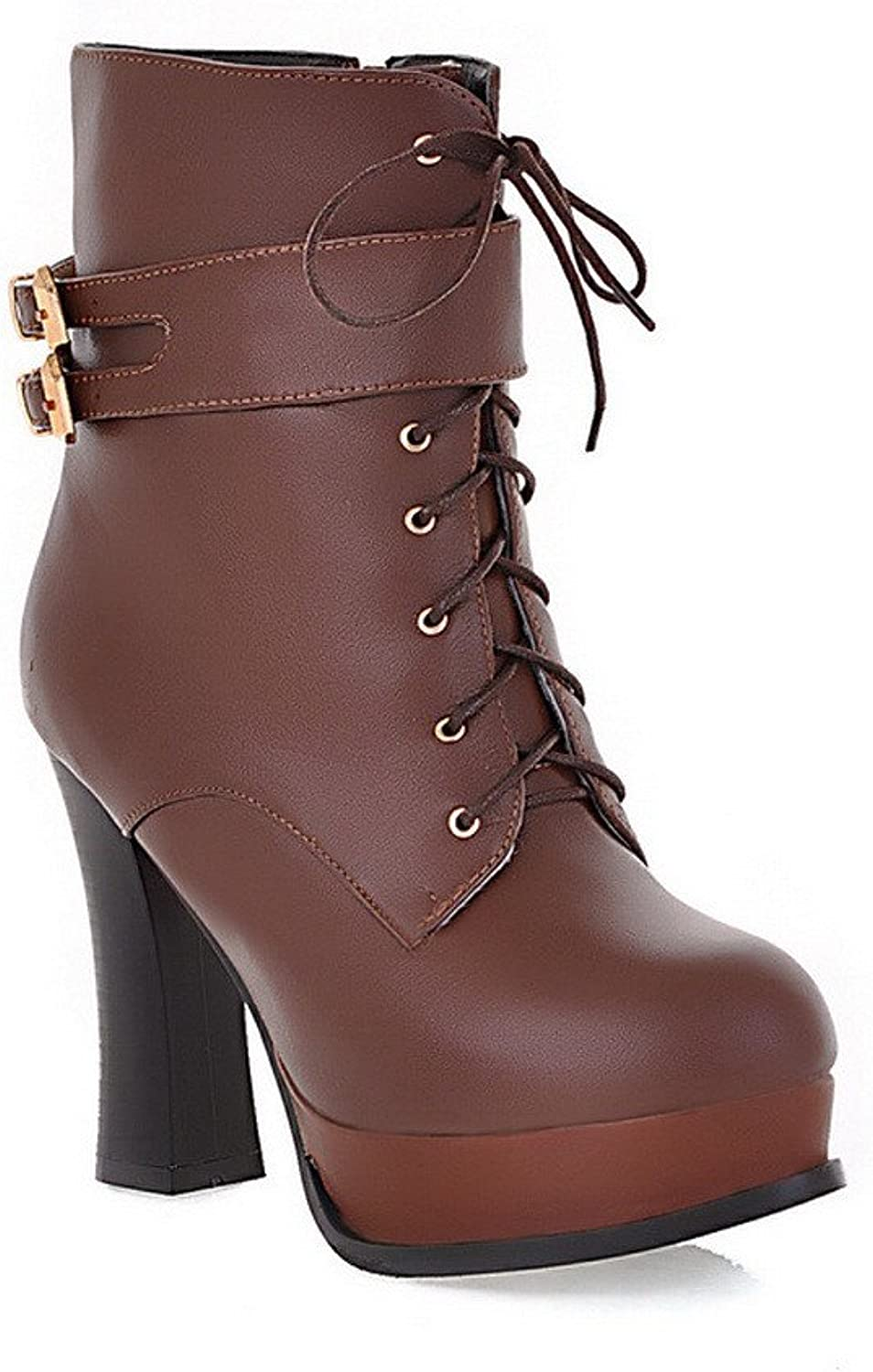 QueenFashion Women's Suede Short Plush High Chunky Heels Lace-up Ankle Boots with Metal Buckles and Zippers