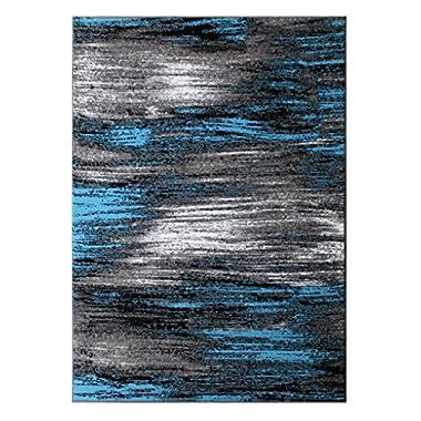 Masada Rugs, Modern Contemporary Area Rug, Blue Grey Black (5 Feet X 7 Feet)
