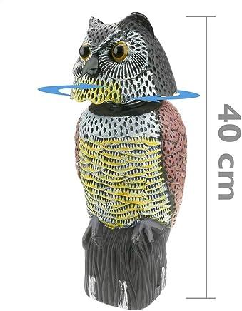 PrimeMatik - Vogelscheuche Eule Figur mit Reflektoraugen 40cm weiblich
