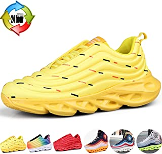 Loafer Flats Hiking Shoes Colorful Casual Mesh Running Shoes Breathable And Comfortable Platform Sneakers Travel Art Men's High-top Shoes (Color : Yellow, Size : 6.5)
