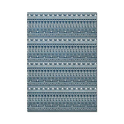 Retro tapijt Boheemse stijl geometrische patronen blauwe tapijten Soft Touch dikke stapel woonkamer karpetten voor keuken woonkamer slaapkamer nachtkastje tapijt mat,E,100 * 160cm