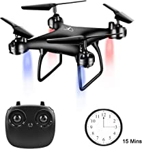 $39 » Drone for Beginners and Adults Free Felt Drone with Altitude Hold Mode 15 Minutes Flight Headless Mode 3 Speed One Key Take Off for Novice and Kids (Black)