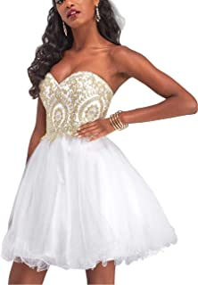 Manfei Short Prom Dress Bridesmaid Party Gowns Gold Appliques